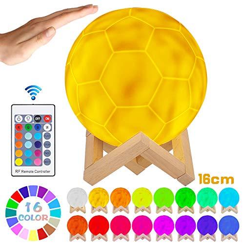 LED Fußball Lampe mit Fernbedienung Dekoleuchte 3D Kunst Tischlampe dimmbar RGB farbwechselbar tragbares Nachtlicht mit Batterie wiederaufladbar, 16 Lichtfarben wechsel, PLA PVC Material, D 15cm