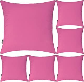 6 Pack Decorative 100% Cotton Pillow Covers 18x18 Inch Square Cushion Cover Solid Throw Pillowcase for Home Bed Sofa (Rose...