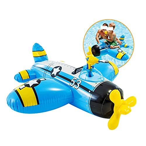 Valhalla Asiento de Piscina flotadores niños Bote neumático Agua Monte Inflables Cama Flotante Spray Palmetazos de Agua de Juguete Pistola de Agua Flotador de Fila for niños 3-8 años (Azul)