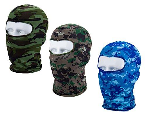 Apanphy® Multifunktionen Gesichtsmaske aus Lycra 3 Loecher Sport Balaclava Einfarbige Maske Warm Fahrrad Ski Snowboard (Camouflage Blu/Grau/Grün)