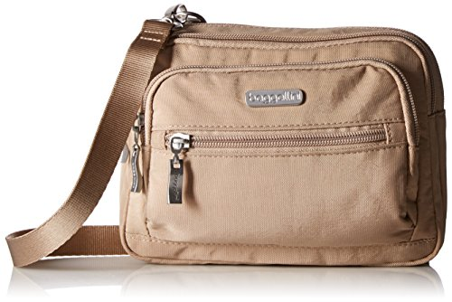 """MULTI FUNCTIONAL: Thanks to a removable 52"""" adjustable strap, Baggallini's Triple Zip bag functions as a crossbody, wallet bag, or fanny pack. It's great for travel as well as everyday use! INTERIOR ORGANIZATION: Six credit card slots and multiple zi..."""