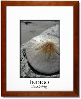 16x20 Teak Stained Wood Frame and Glass with Single White Mat for 11x14.