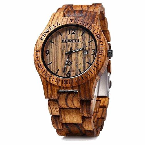 Bewell Wooden Watch Handmade Natural Zebra Wood Watch Analog Quartz Wood Wrist Watch
