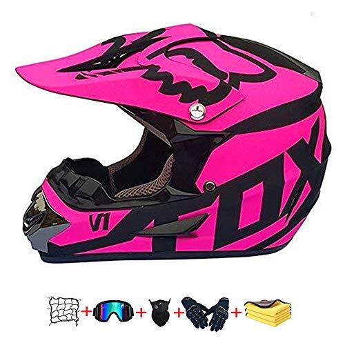 Casco Moto niño,Casco Motocross niño Moto Set con Gafas/Máscara/Guantes Casco Motocross (6unidades) Apto para Cuatro Estaciones (E, 55-56CM)