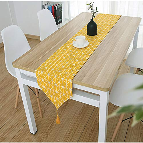 "Bestenrose Table Runner Home Tablecover Decorative 2 sides Cotton Linen Classic Table Bedding Mat Dining Room Party Holiday Decoration(Yellow, 12' x 47""(32 * 120cm))"