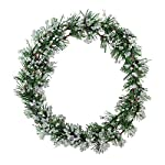 FakeFace Merry Christmas Wreath 12 Inch Christmas Decorations Front Door Wreath Ornament Wall Artificial Pine Garland for Christmas Party Décor, with Bowknot, Bells, Red Berries, Flower Gifts