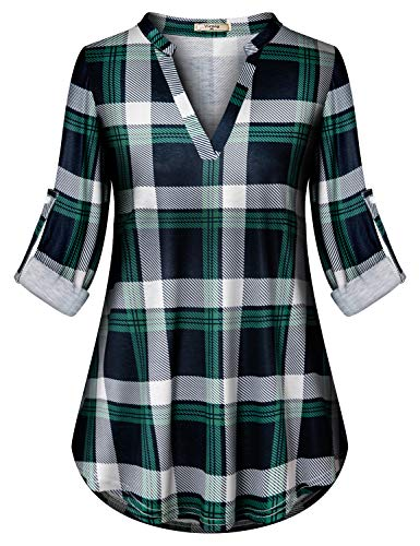Buffalo Plaid Shirt Womens,Viracy Tunics for Women to Wear with Leggings Boutique Clothing Misses Long Sleeve Flannel Blouses Soft Surroundings Work Tops High Low V Neck Zulily Henleys Green Meidum
