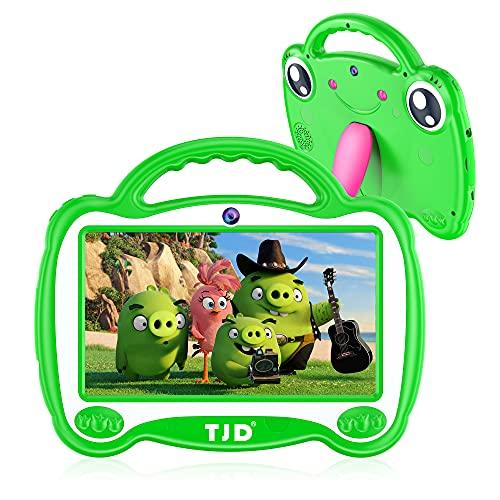 TJD 7-Zoll-Tablet für Kinder, Android 10,0 Betriebssystem, Elternsteuerung, vorinstalliert iWawa, 2 GB RAM 16 GB Speicher, Doppelkamera, Bluetooth, WiFi(Grün)