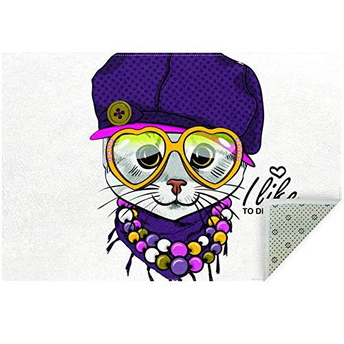 Bennigiry Teppich, weiche Katze mit violetter Hut, rutschfest, groß, für Wohnzimmer, Schlafzimmer, Spielzimmer, 152 x 91 cm, Polyester, Multi, 160x120cm/63x47in