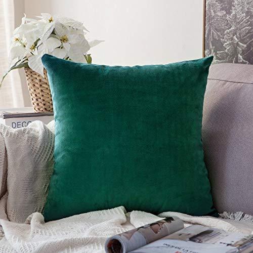 HJYSQX Funda de Almohada Cuadrada Decorativa de Microfibra Suave y Suave de Terciopelo, Funda de cojín para sofá, Dormitorio, Coche con 16x16 Pulgadas 40x40cm Verde Oscuro 1 Pieza