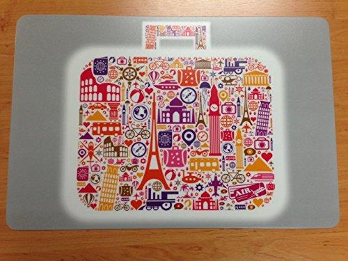 Schreibtischunterlage: Koffer 40 x 60 cm, abwischbar Sehenswürdigkeiten Städte Paris London grau
