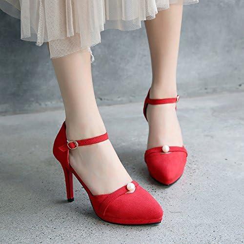 GTVERNH Tête Pointue Bien Talon Daim Chaussures étanches 9Cm Plate - Forme Des Chaussures De Femme Mariée Talons Hauts Des Ceintures Des Sandales.