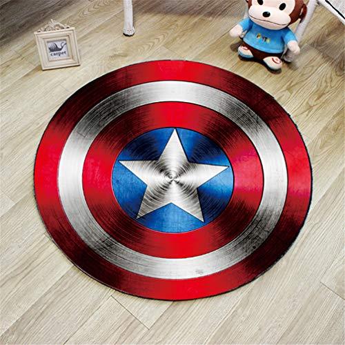 AMON LL Runde Blumenteppiche, rutschfeste Polyester-Teppiche Captain America Living Room Carpet Kinderschlafzimmerteppiche,2,100 * 100cm