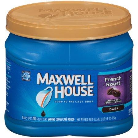 Maxwell House French Dark Roast Ground Coffee, 25.6 OZ (726g) Tub