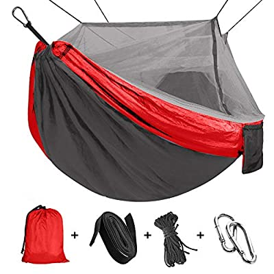 """Camping Hammock, Outdoor Hammock Travel Bed Lightweight Parachute Fabric Double Hammock for Indoor, Camping, Hiking, Backpacking, Backyard 110""""(L) x 59""""(W)"""
