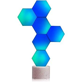 Cololight Smart LED Panel (6-Pack Starter Kit con base in pietra) che cambia luce USB con 16 milioni di colori RGB, funziona con Alexa/Google Assistant