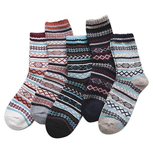 JiaMeng 5 Paar Unisex Mode Bequem Socken Dicke Warme Wadensocken Modische Oddsocks Mehrfarbig Klassisch als Geschenk Neuheit Sneake Socken