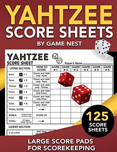 Yahtzee Score Sheets: 125 Large Score Pads for Scorekeeping | 8.5