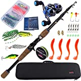 Sougayilang Fishing Rod Reel Combos Carbon Fiber Telescopic Fishing Pole with Bastcasting Reel for...