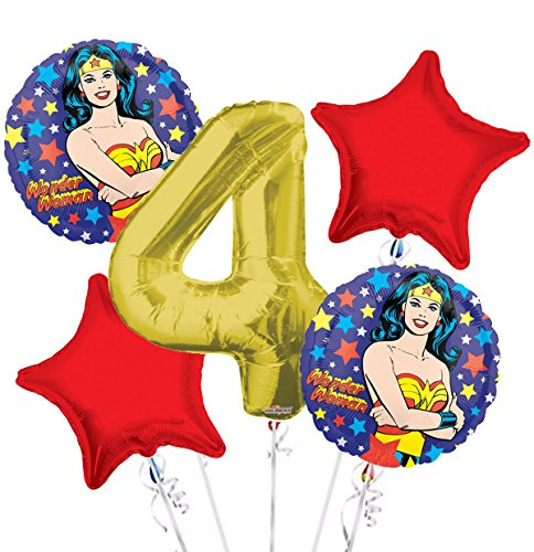 Wonder Women Balloon Bouquet 4th Birthday 5 pcs - Party Supplies