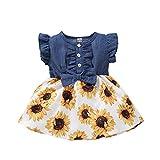 Vestido de Princesa Niña Impresión de Girasol Mezclilla con Volantes Sin Mangas Ropa para Bebés Recién Nacidos Vestidos para Niñas (Amarillo, 3-6 Meses)