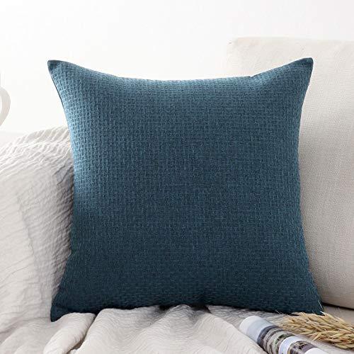 Jepeak - Funda de cojín de lino y algodón con patrón de ratán, diseño moderno y grueso, para sofá o cama, 45,7 x 45,7 cm