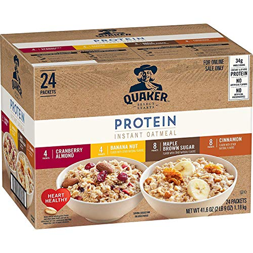 Quaker Instant Oatmeal, Protein 4 Flavor Variety Pack, 7g+ Protein, Individual Packets, 24 Count