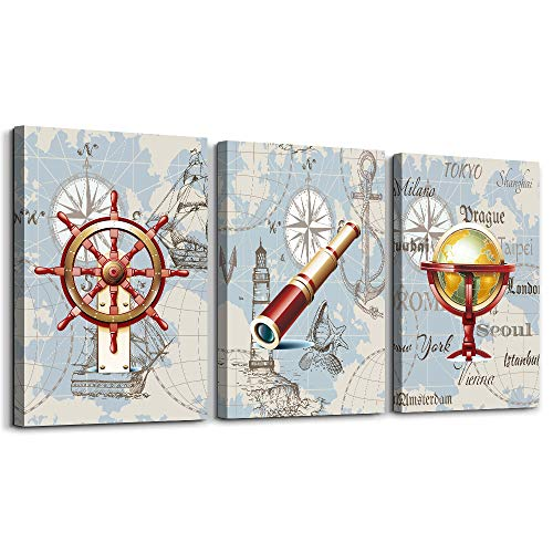 Retro binoculars Marine style Canvas Prints Wall Art for Living Room Wall Artworks Pictures Bedroom Decoration, 12x16 inch/piece, 3 Panels framed Home bathroom Wall decor posters watercolor Paintings