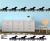 Wandtattoo selbstklebend Bordüre Pferd Pferde Tier Pony Zaun Set Kinderzimmer Banner Aufkleber Wohnzimmer 1U164, Farbe:Schwarz Matt;Länge x Breite:200cm x 28cm