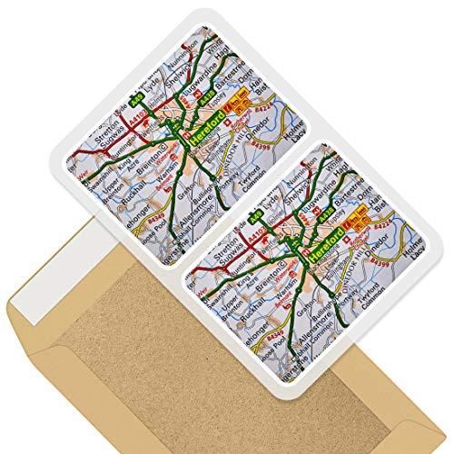 Juego de 2 pegatinas rectangulares de Hereford Travel Holiday UK GB Map Fun calcomanías para ordenadores portátiles, tabletas, equipaje, chatarra de neveras, regalo fresco #45321