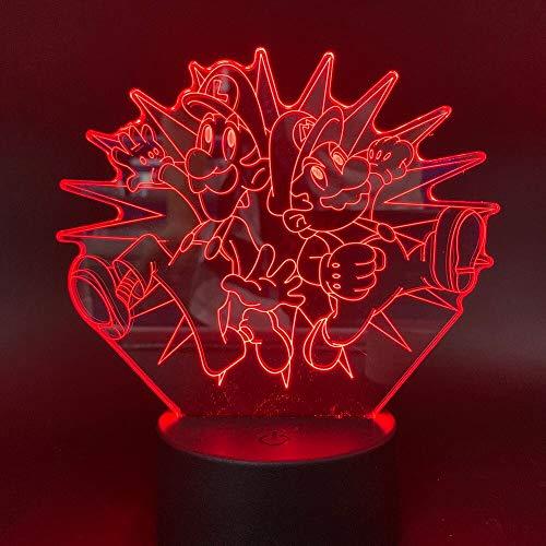 Juego de dibujos animados Mario Brothers LED Acrílico 3D Lámpara de mesa Luz nocturna multicolor Decoración Regalo