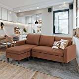 Esright Sectional Convertible Sofa Couch for Living Room, L-Shape Gray Couch with Chaise, 3 Piece Small Couch for Small Space, Apartment Sofa, Fabric, Red Brown