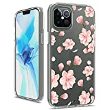 Vinve iPhone 12 Pro Max Case, with Tempered Glass Screen Protector, Clear Flower Design Hard PC Back+ TPU Bumper Protective Slim Case for iPhone 12 Pro Max 6.7 inch 2020 (Peach Blossom)