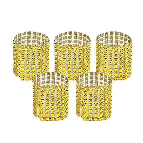 Huixindd 10 Piezas de la Silla de la Silla de la servilleta de Oro y Plata con Hebilla de la Boda Decoración de la Boda Artesanía Rhinestone Bowknot Suministros de Fiesta Hechos a Mano (Color : Gold)