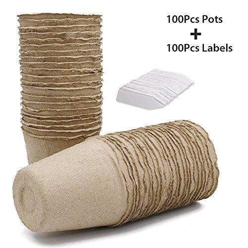 KINGLAKE 100 Petits Pots de semis en Fibre biodégradable de 8 cm, avec 100 étiquettes Blanches en Plastique de 1 x 5 cm