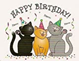 Happy Birthday Cats ~ Edible Cake Topper - D880