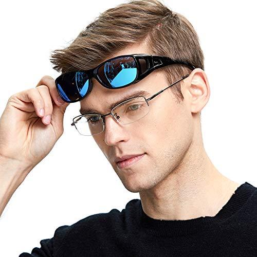 DUCO Unisex Wraparound Fitover Glasses Polarized Wear Over Sunglasses 8953 (M Size Black Frame Revo Blue Lens)