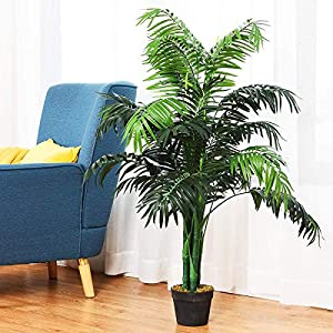 Silk Flower Arrangements HAPPYGRILL 3.5 Feet Artificial Palm Tree, Fake Greenery Plants Tree with Nursery Pot for Home Office