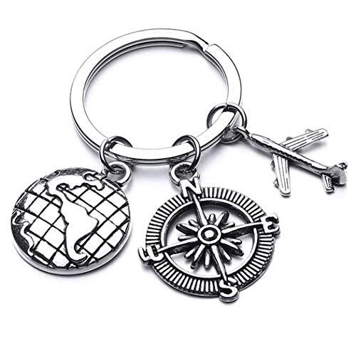 LIUCM Traveler Keyring Map Airplane Compass Charm Pendant Keychain Travel Key Ring Best Friends Friends