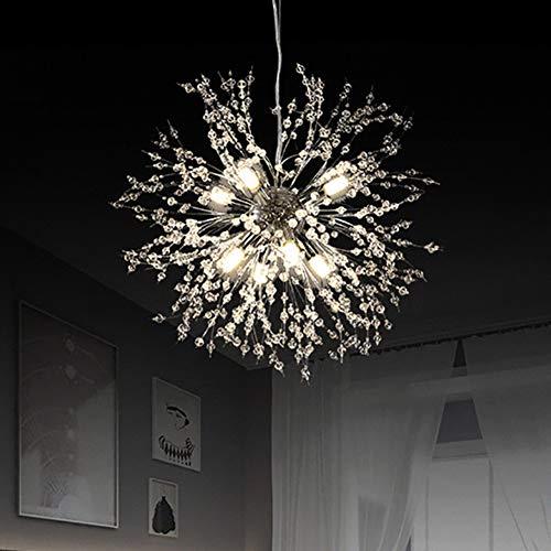 Vikaey Kristall Löwenzahn Kronleuchter, G9 Basis Wohnzimmer Deckenleuchten, moderne Pendelleuchte für Schlafzimmer Küche Restaurant (8 Licht, Chrom)