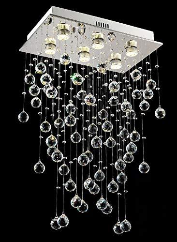 FEE-ZC Lámpara de araña Rectangular Iluminación Lámparas de Techo Modernas con Forma de Gota de Lluvia de Cristal L50 x W30 x H80 cm
