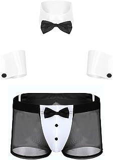Freebily Men's Waiter Gentleman Costume Tuxedo Underwear with Hand Sleeves Bow Tie Boxer Briefs Lingerie Set