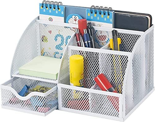 Bonsaii Steel Mesh Desk Organiser, Home Office Desktop Organiser, 6 Compartment with 1 Slide Drawer for Office, School and Home Use, White (W6348)