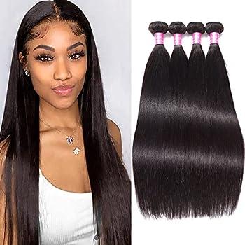 10A Remy Brazilian Virgin Hair Straight 24 26 28 30 inches Mink Human Hair 4 Bundles Deals Unprocessed Brazilian Straight Hair Extensions Natural Color Weave Bundles
