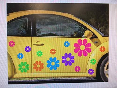 Large Flowers Set 15 10 Free USA Decal Stickers Car Boat Truck Van Golf Cart Tropical Colors Hot Pink Purple Bright Blue Guaranteed