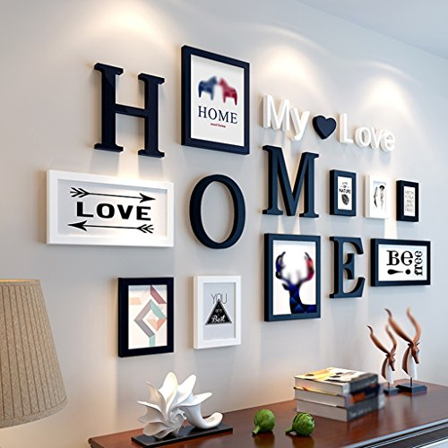 Rahmen Holz-Foto-Wand, kreatives modernes einfaches Wohnzimmer-Restaurant-Verein-Foto-Rahmen hängende Wand-Kombination-Dekoration-dimensionaler visueller Effekt-Stab Haus Dekoration ( Farbe : A )
