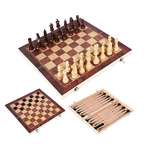 GXY Juego de Ajedrez 3 en 1 Chess Backgammon Damas de Viaje Juegos de Viaje Juego de Ajedrez Junta Entretenimiento Regalo Internacional Ajedrez Ajedrez de Madera,B