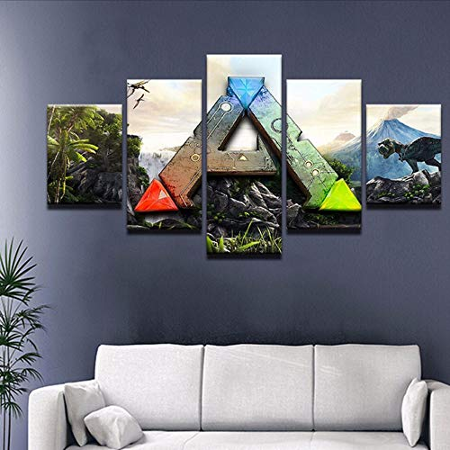 Wuwenw Survival Evolved Game 5 Panel Canvas Printed Painting For Living Room Wall Art Home Decor Hd Picture Artworks Poster,12X16/24/32Inch,Without Frame