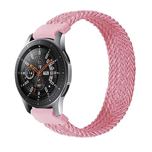 LRJBFC Correa de Bucle Solitario Trenzada de Nylon 20 mm 22 mm para Galaxy Watch 3 41mm 45mm Pulsera elástica para Gear S3 Classic para Amazfit GTS/GTR (Color : Pink, Size : 20mm-M Size 135mm)