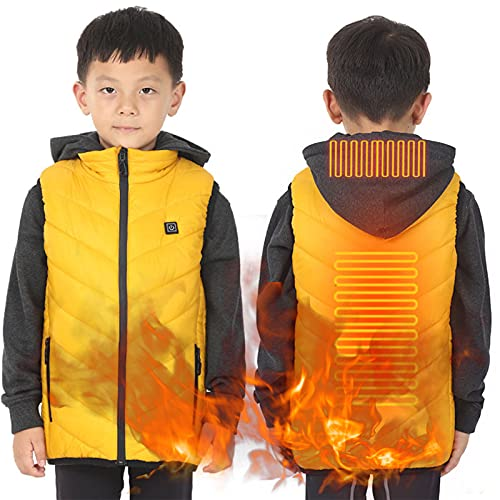 Elektrische Heizweste Für Kinder, Leicht, Heizwestenjacke, Winterwarme Baumwollkleidung,Gelb,160cm